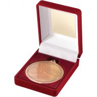 Red Velvet Box Medal Swimming Trophy Bronze 3.5in