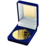 Blue Velvet Box Medal Swimming Trophy Gold 3.5in
