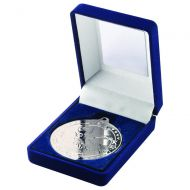 Blue Velvet Box Medal Swimming Trophy Silver 3.5in