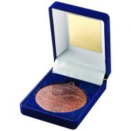 Blue Velvet Box Medal Swimming Trophy Bronze 3.5in