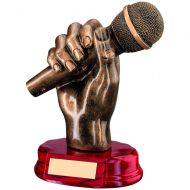 Bronze/Gold Resin Microphone In Hand Trophy 7in