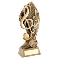 Bronze Gold Music With Twisted Backdrop Trophy 7.25in : New 2019