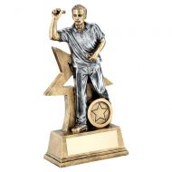 Bronze Gold Pewter Male Darts Figure With Star Backing Trophy 9in : New 2019