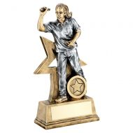 Bronze Gold Pewter Female - Ladies Darts Figure With Star Backing Trophy 9in : New 2019