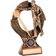 Bronze/Gold Male Darts Quartz Figure Trophy 8.25in