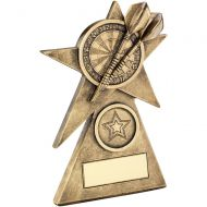 Bronze/Gold Darts Star On Pyramid Base Trophy - - 6in