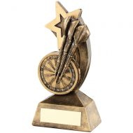Bronze/Gold Dartboard/Darts Shooting Star Trophy - 5.75in