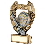 Bronze Pewter Gold Darts 3 Star Wreath Award Trophy 5in : New 2019