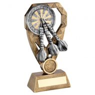 Bronze Pewter Gold Darts with Dartboard On Diamond Trophy Award 7in : New 2020