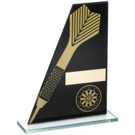 Black/Gold Printed Glass Plaque Dart/Dartboard Trophy - 7.25in