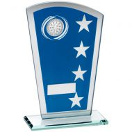 Blue/Silver Printed Glass Shield Darts Trophy - 8in