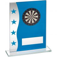 Blue/Silver Printed Glass Plaque With Dartboard Image Trophy Award - 7.25in : New 2018
