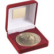 Red Velvet Box Medal Darts Trophy Antique Gold 4in