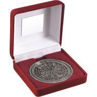 Red Velvet Box Medal Darts Trophy Antique Silver 4in