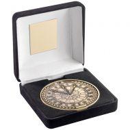 Black Velvet Box And 70mm Medallion Darts Trophy Award - Antique Gold - 4in : New 2018