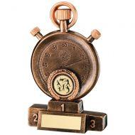 Bronze/Gold Athletics Stopwatch On Podium Trophy 5.25in