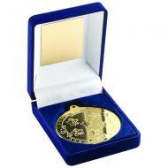 Blue Velvet Box Medal Multi Athletics Trophy Gold 3.5in