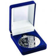 Blue Velvet Box Medal Multi Athletics Trophy Silver 3.5in