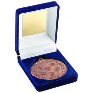 Blue Velvet Box Medal Multi Athletics Trophy Bronze 3.5in