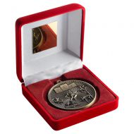 Red Velvet Box And 60mm Medal Athletics Trophy Antique Gold 4in : New 2019