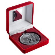Red Velvet Box And 60mm Medal Athletics Trophy Antique Silver 4in : New 2019