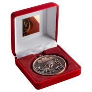 Red Velvet Box And 60mm Medal Athletics Trophy Bronze 4in : New 2019