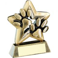 Bronze/Gold Dog Paws Trophy Mini Star Trophy 3.75in