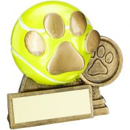 Bronze/Gold/Yellow 3d Mini Tennis Ball Dog Paw Trophy 3in