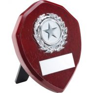 Rosewood Shield Silver Trim Trophy 4in