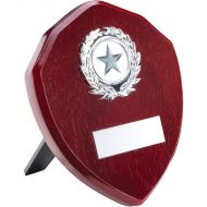 Rosewood Shield Silver Trim Trophy 5in