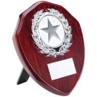 Rosewood Shield Silver Trim Trophy 6in