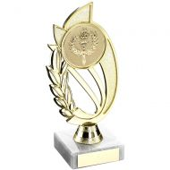 Gold/Blue Plastic Holder On Marble Trophy - 7in
