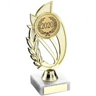 Gold/Red Plastic Holder On Marble Trophy - 8in