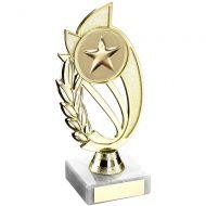 Gold Plastic Laurel Holder On Marble Trophy - 9in