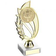 Gold/Matt Silver Plastic Holder On Marble Trophy - 9in