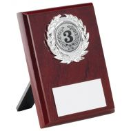 Rosewood Plaque Silver Trim Trophy 4in