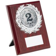 Rosewood Plaque Silver Trim Trophy 5in