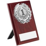 Rosewood Plaque Silver Trim Trophy 6in