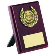 Rosewood Plaque Gold Trim Trophy 4in