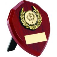 Rosewood Shield Gold Trim Trophy 4in