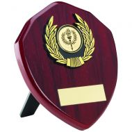 Rosewood Shield Gold Trim Trophy 5in