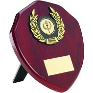 Rosewood Shield Gold Trim Trophy 6in