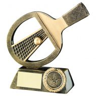 Bronze/Gold Table Tennis Bat/Net/Ball Trophy 6in