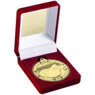 Red Velvet Box And 50mm Medal Table Tennis Trophy Gold 3.5in : New 2019