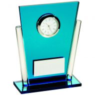 Blue/Clear Glass Tapered Rectangle Clock Trophy 5.25in