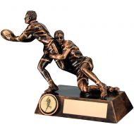 Bronze/Gold Double Rugby Tackle Figure Trophy 7.75in