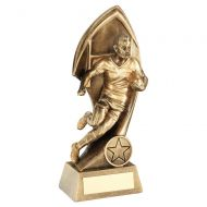 Bronze Gold Male Rugby with Twisted Backdrop Trophy Award 8.75in : New 2020