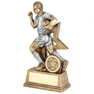 Bronze/Pewter Male Rugby Figure With Star Backing Trophy Award - 7in : New 2018