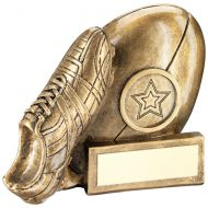 Bronze/Gold Rugby Ball And Boot Chunky Flatback Trophy Award - 3.25in : New 2018