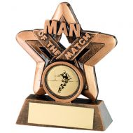 Bronze/Gold Man Of The Match Mini Star Trophy 3.75in